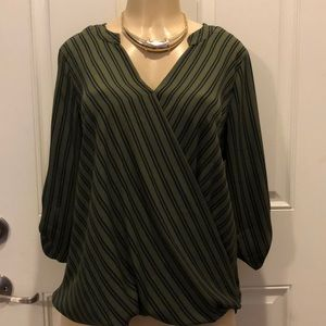 Green/black stripped blouse
